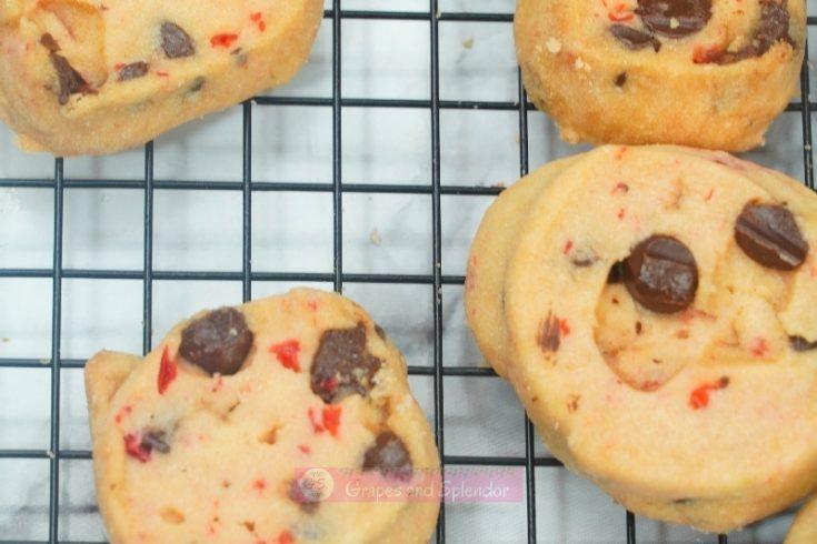 Maraschino Cherry Shortbread Cookies